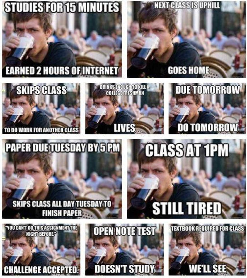 Lazy college meme