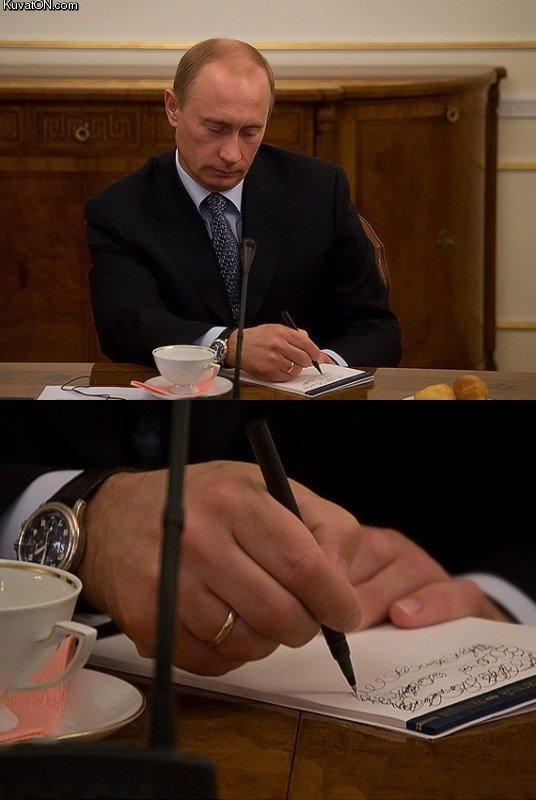 Putin scribbling