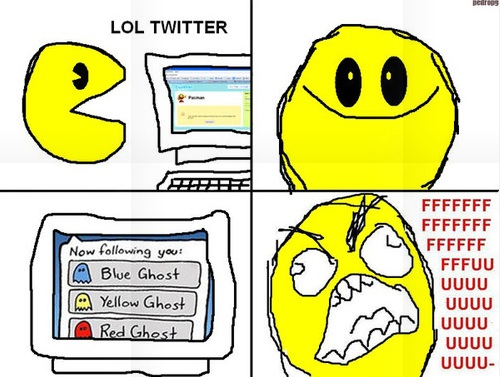 Pac-man followed by ghosts on twitter