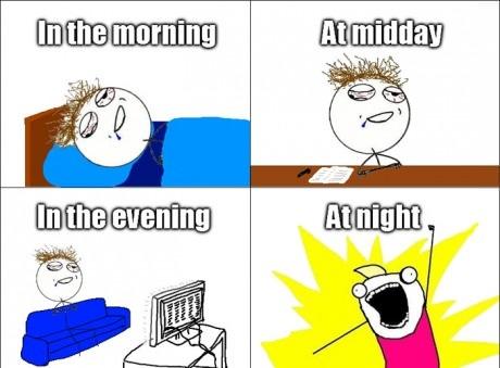 Morning, midday, evening, night