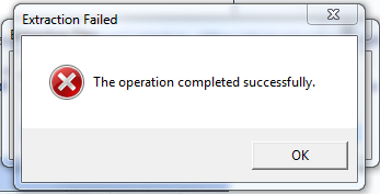 Extraction failed: The operation completed successfully