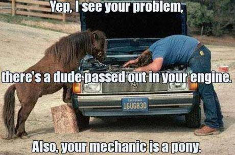 There's a dude passed out in your engine and your mechanic is a pony