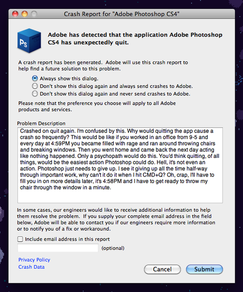 Adobe Photoshop CS4 crash report
