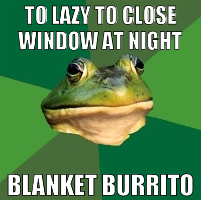 Too lazy to close window at night, blanket burrito