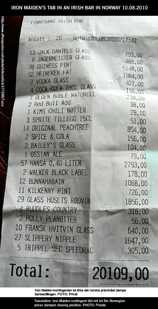 Iron Maiden bar tab