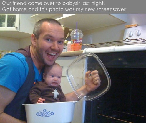 Guy putting baby in oven