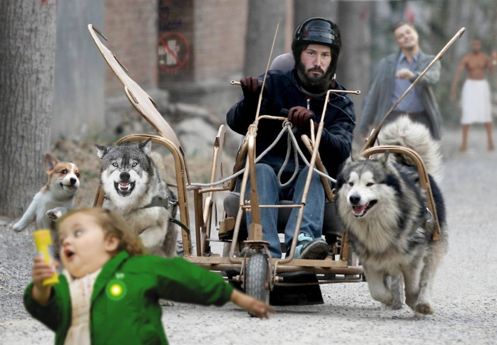 Keanu Reeves chasing a fat girl on his golden dog sled