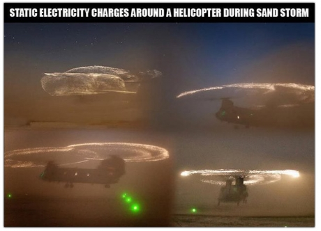Static electricity charges around a helicopter during sand storm