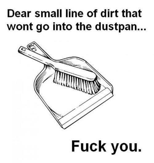 Dear small line of dirt that wont go into the dustpan