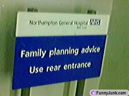 Family planning use rear entrance
