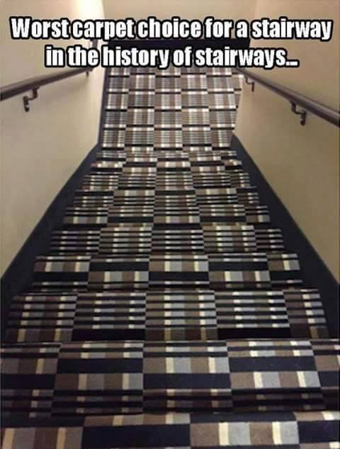 Worst carpet choice for a stairway in the history of stairways