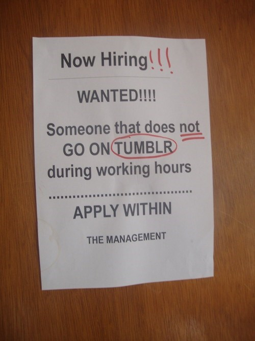 WANTED Someone that does not go on tumblr during working hours