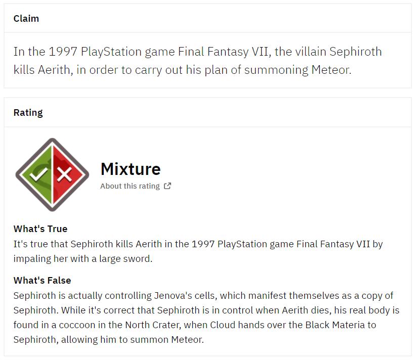 Fact check Sephiroth kill Aerith
