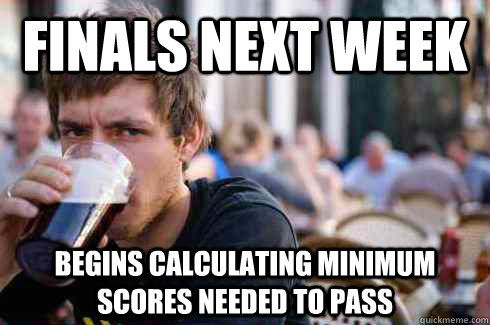 Finals next week, begins calculating minimum scores needed to pass