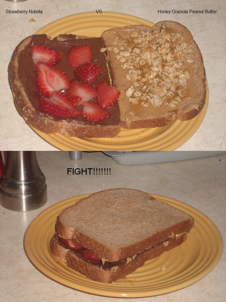 Strawberry Nutella Honey Granola Peanut Butter Sandwich