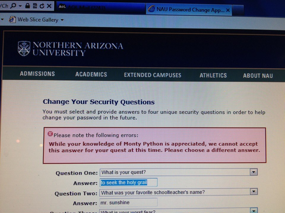 What is your quest security question