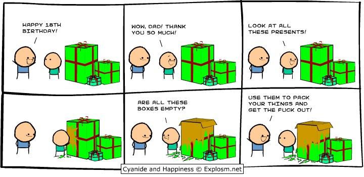 Empty boxes present