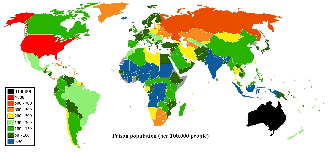 Prison population per 100000 people