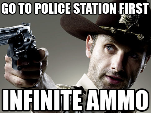 Go to the police station first, infinite ammo