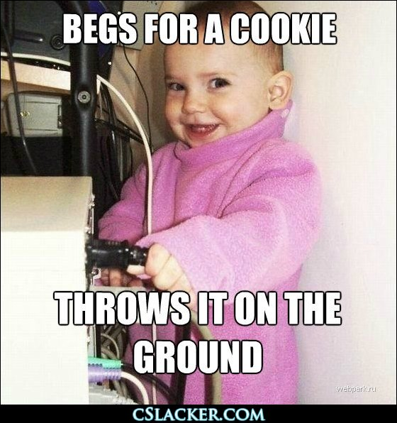 Begs for a cookie, throws it on the ground