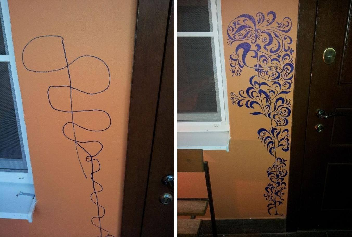 One mother turns kids wall doodles into work of art
