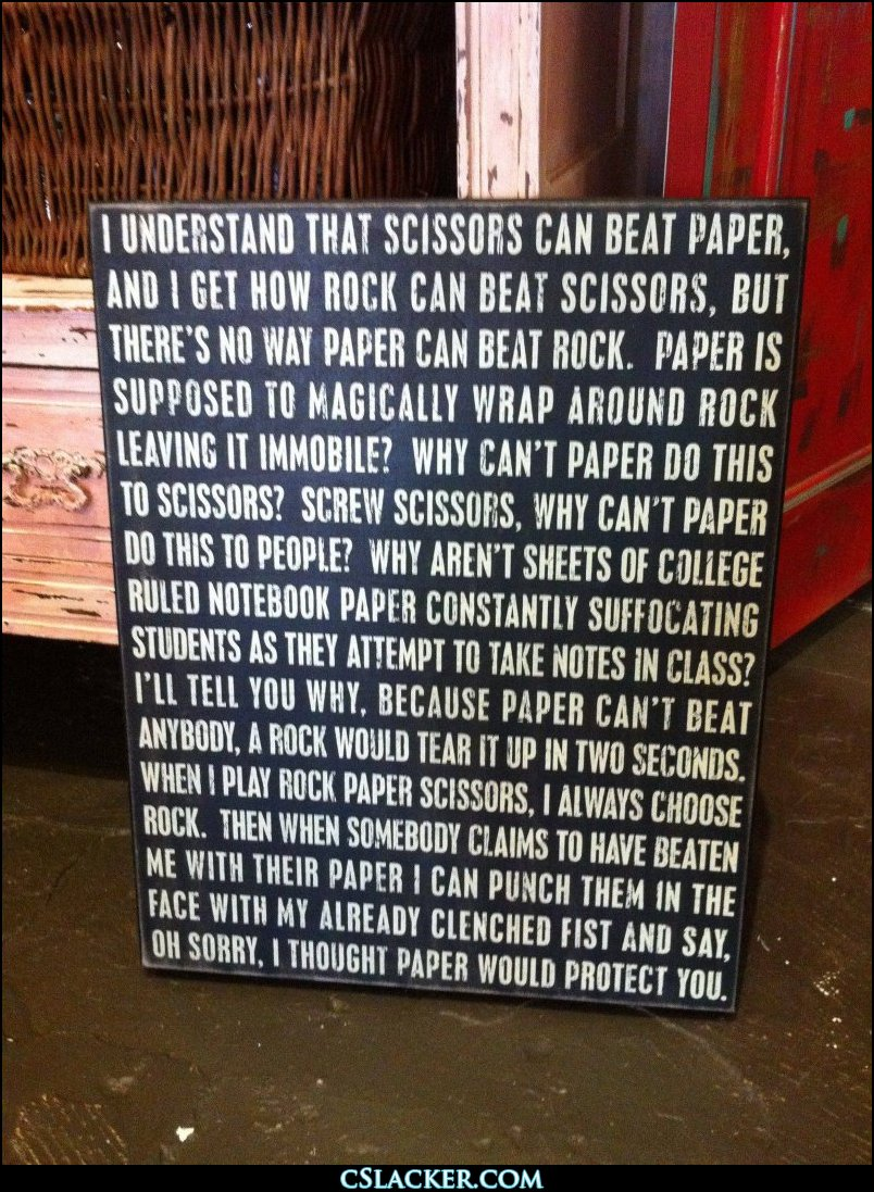 Rock paper scissors sign