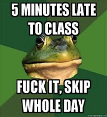 5 minutes late, skip whole day